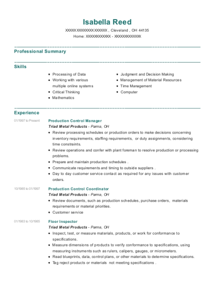 Production Control Manager resume template Ohio