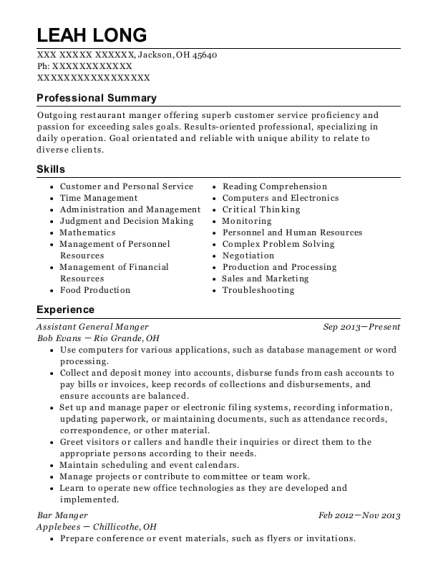 Assistant General Manger resume example Ohio