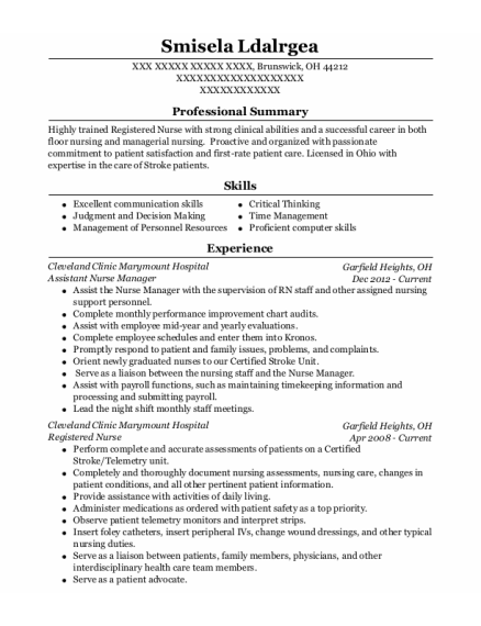 Assistant Nurse Manager resume format Ohio