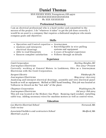 Journeyman Electrician resume sample Ohio