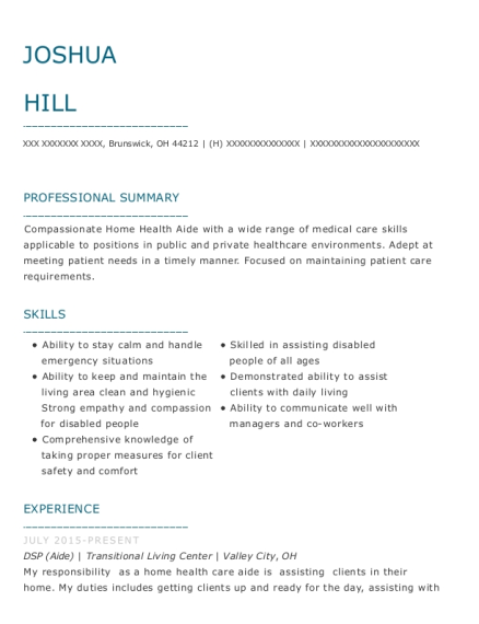 DSP resume sample Ohio