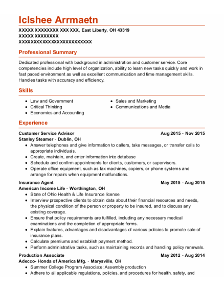 Customer Service Advisor resume sample Ohio