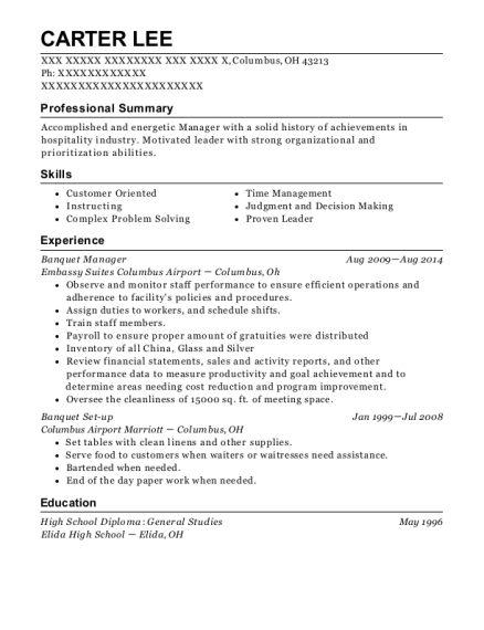 Banquet Manager resume template Ohio