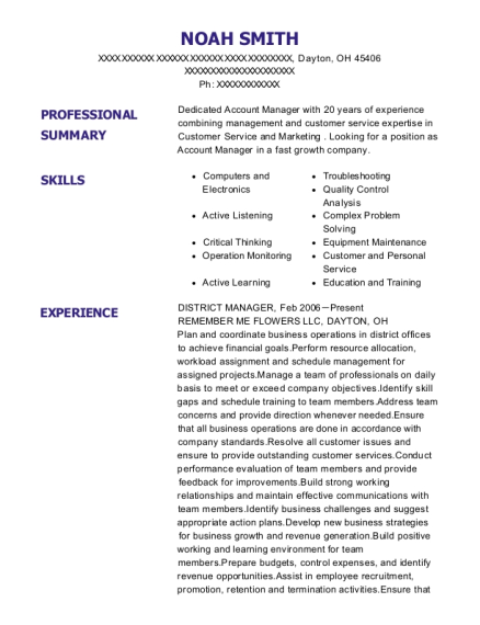 District Manager resume template Ohio