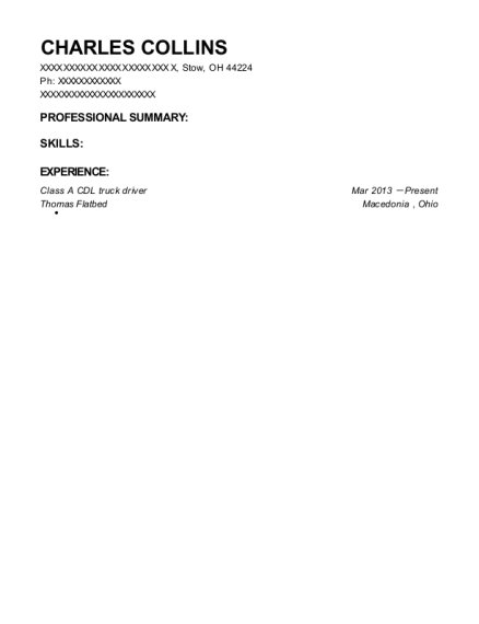 Class A CDL truck driver resume example Ohio