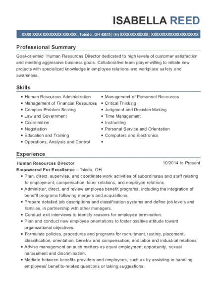 Human Resources Director resume template Ohio