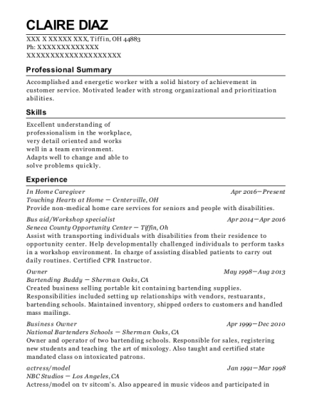 In Home Caregiver resume template Ohio