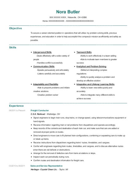 Freight Conductor resume template Ohio