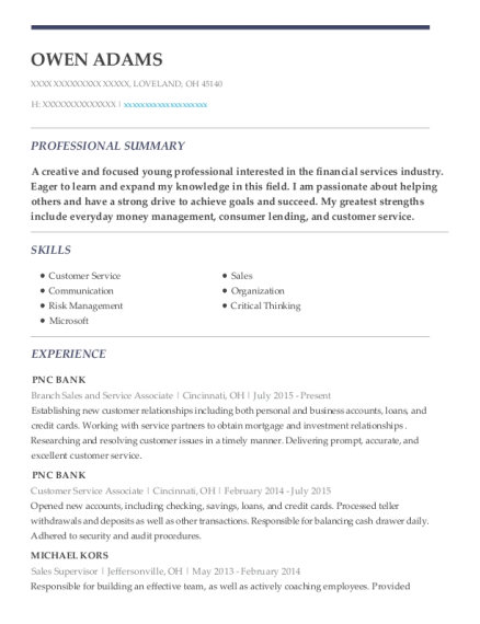 Branch Sales and Service Associate resume format Ohio