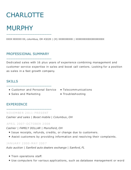 Cashier and sales resume format Ohio