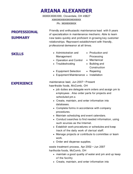 maintenance lead resume example Ohio
