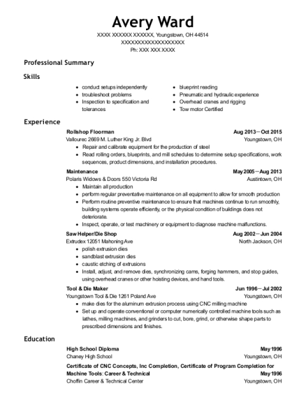 Rollshop Floorman resume format Ohio