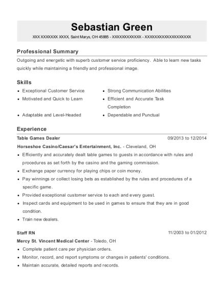 Table Games Dealer resume example Ohio