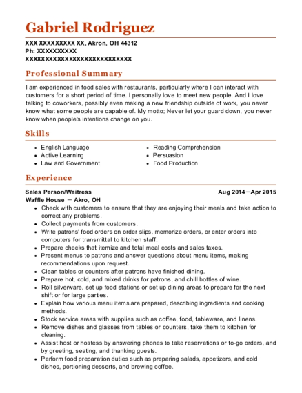 Sales Person resume template Ohio
