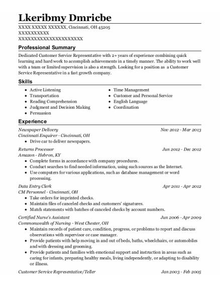 Newspaper Delivery resume template Ohio