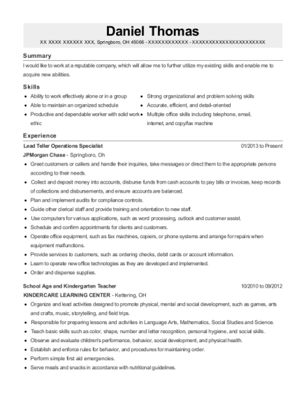 Lead Teller Operations Specialist resume template Ohio