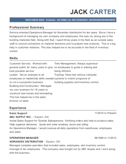 Sales Support resume template Ohio