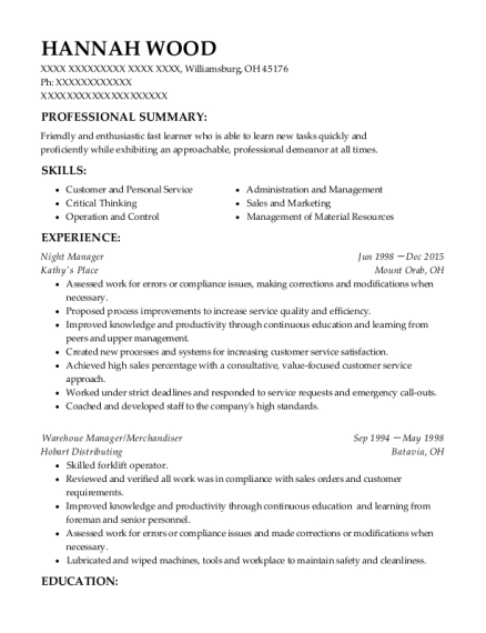 Night Manager resume format Ohio