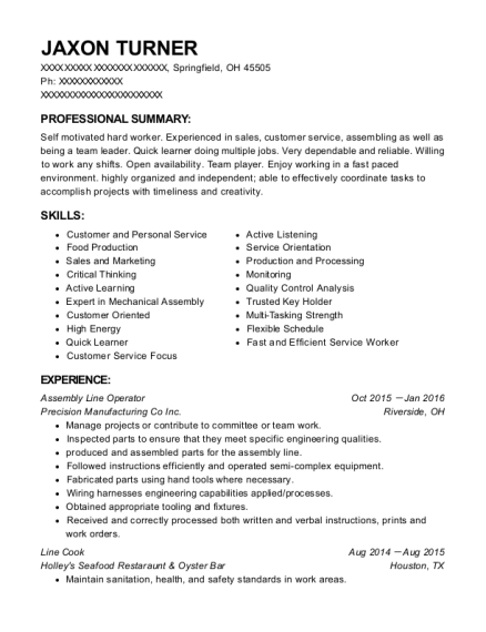 Assembly Line Operator resume template Ohio
