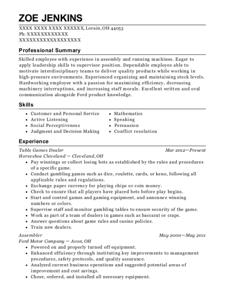 Table Games Dealer resume format Ohio