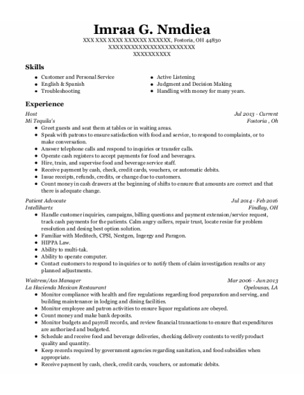Host resume template Ohio