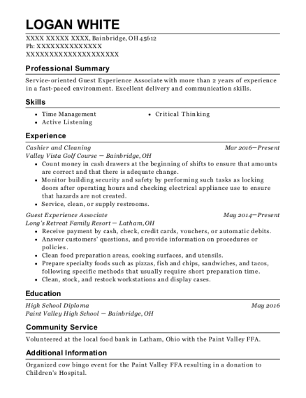 Cashier and Cleaning resume format Ohio