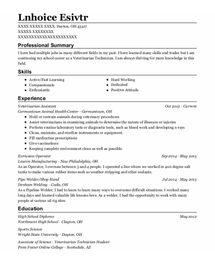 Veterinarian Assistant resume format Ohio