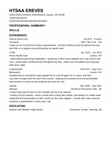 Stay at home mom resume format Ohio