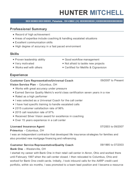 Customer Care Representative resume example Ohio