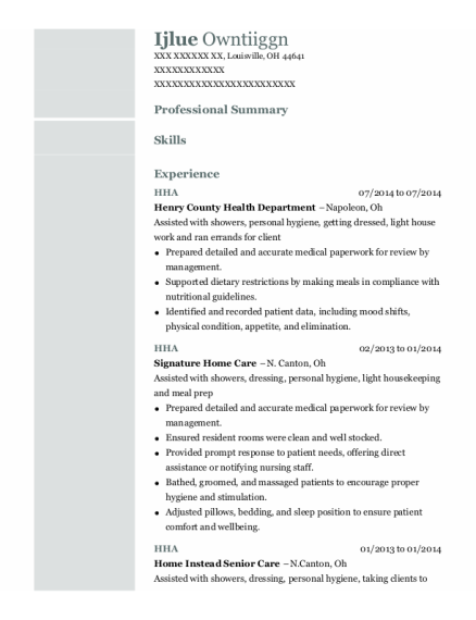 HHA resume template Ohio