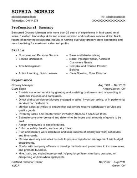 Grocery Manager resume example Ohio