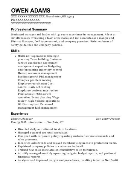 District Manager resume format Ohio