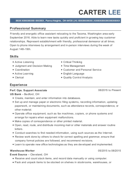 Perf Ops Support Associate resume template Ohio