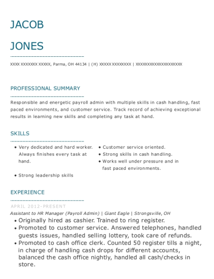 Assistant to HR Manager resume template Ohio