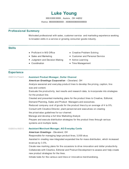 Assistant Product Manager resume sample Ohio