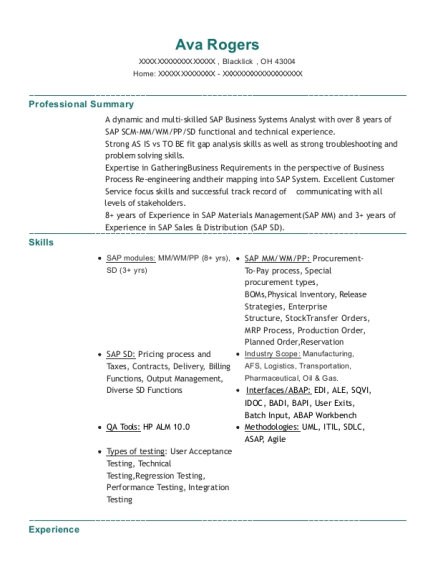 SAP Supply Chain Business Systems Analyst resume example Ohio