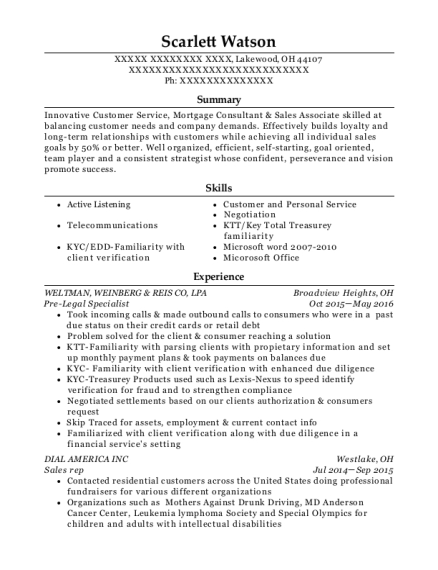 Pre Legal Specialist resume sample Ohio