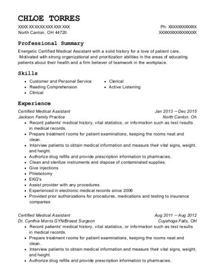 Certified Medical Assistant resume format Ohio