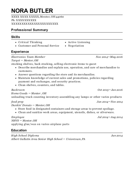 Electronics Team Member resume format Ohio