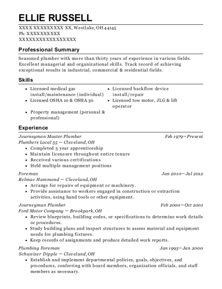 Top Gun Plumbing And Heating Master Plumber Resume Sample