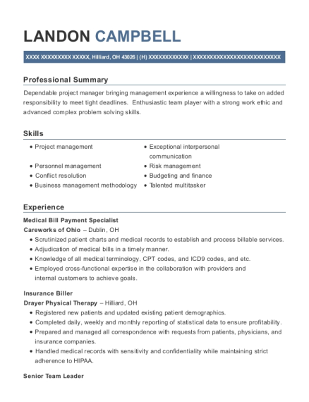 Medical Bill Payment Specialist resume example Ohio