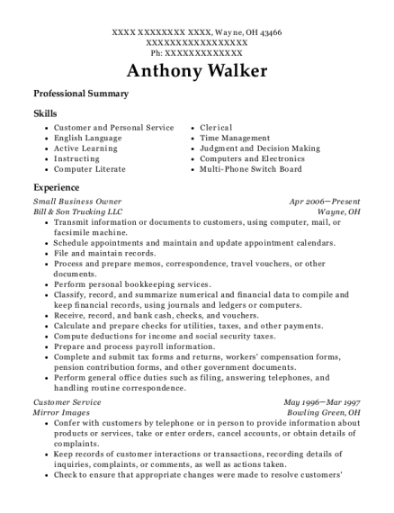 Small Business Owner resume sample Ohio