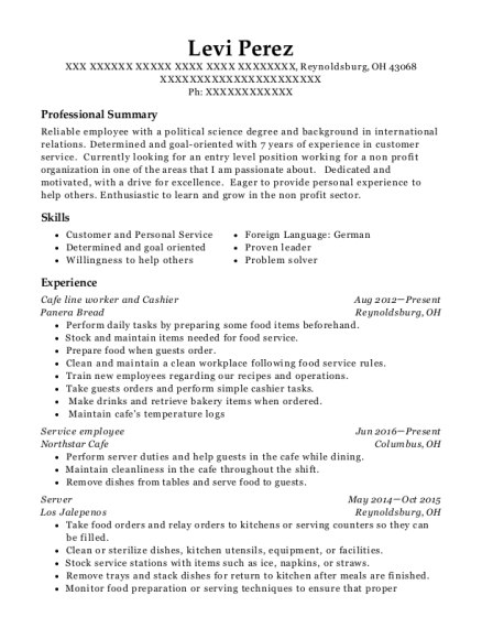 Cafe line worker and Cashier resume sample Ohio