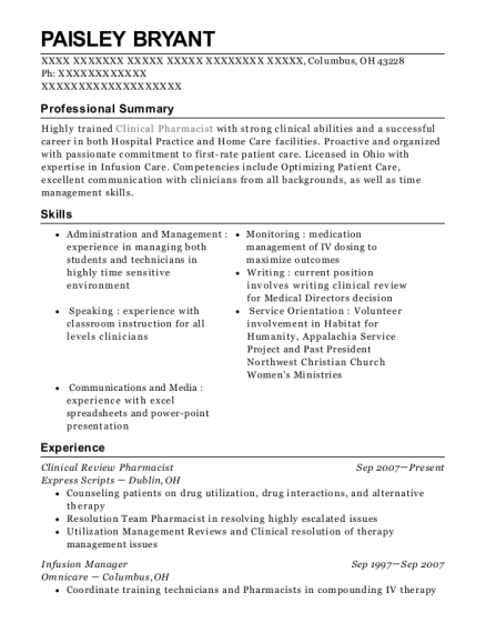 Clinical Review Pharmacist resume format Ohio