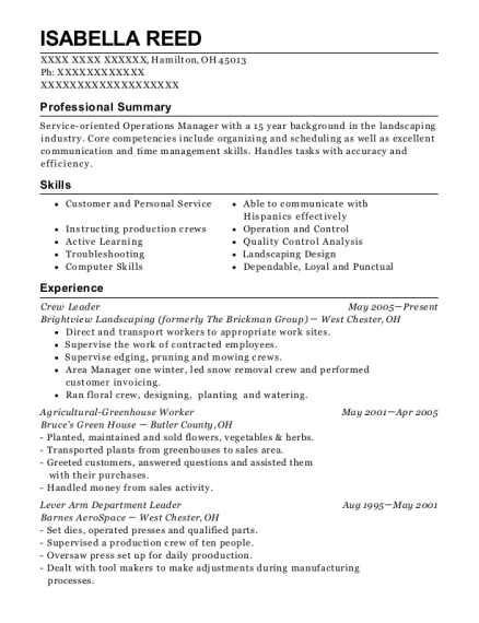 Crew Leader resume template Ohio