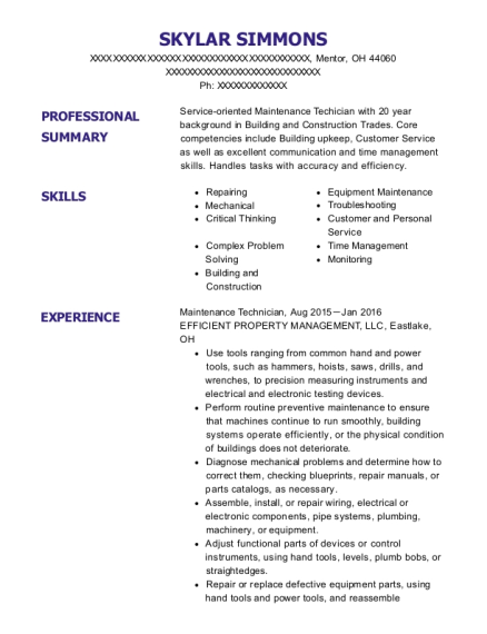 Maintenance Technician resume template Ohio