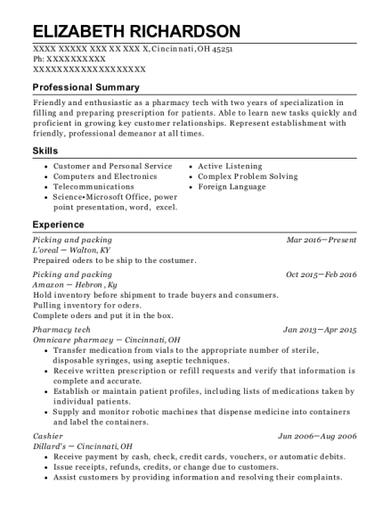 Picking and packing resume example Ohio