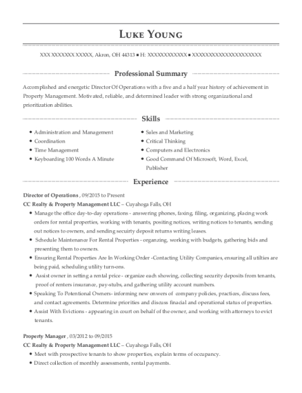 Director of Operations resume format Ohio