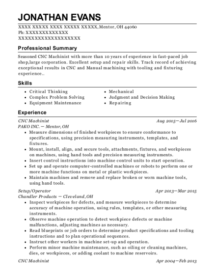 CNC Machinist resume format Ohio