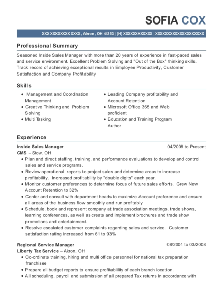 Inside Sales Manager resume template Ohio